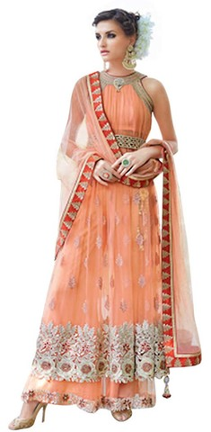 Beautiful Peach Net Embroidered Lehenga