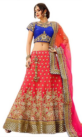 Impressive Embroidered Red Lehenga Choli