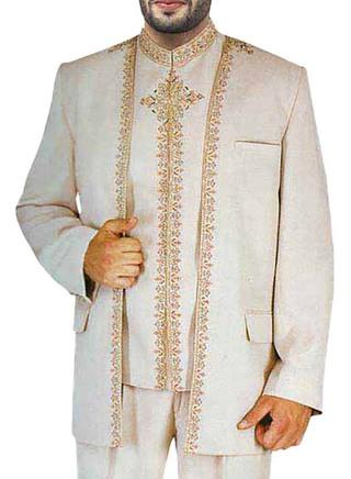 Traditional Work Almond 3 Pc Jodhpuri Suit