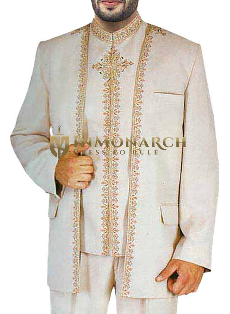 Mens Almond 3 Pc Jodhpuri Suit Traditional Work