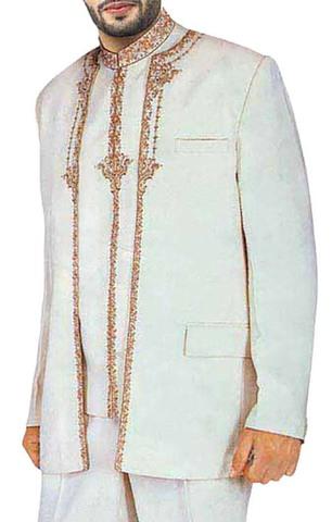 Heavy Work 3 Pc Cream Designer Suit
