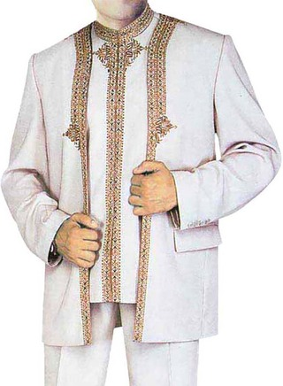 Mens Cream 3 Pc Partywear suit Front Open