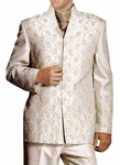 Mens Almond Polyester 4 Pc V Neck Suit