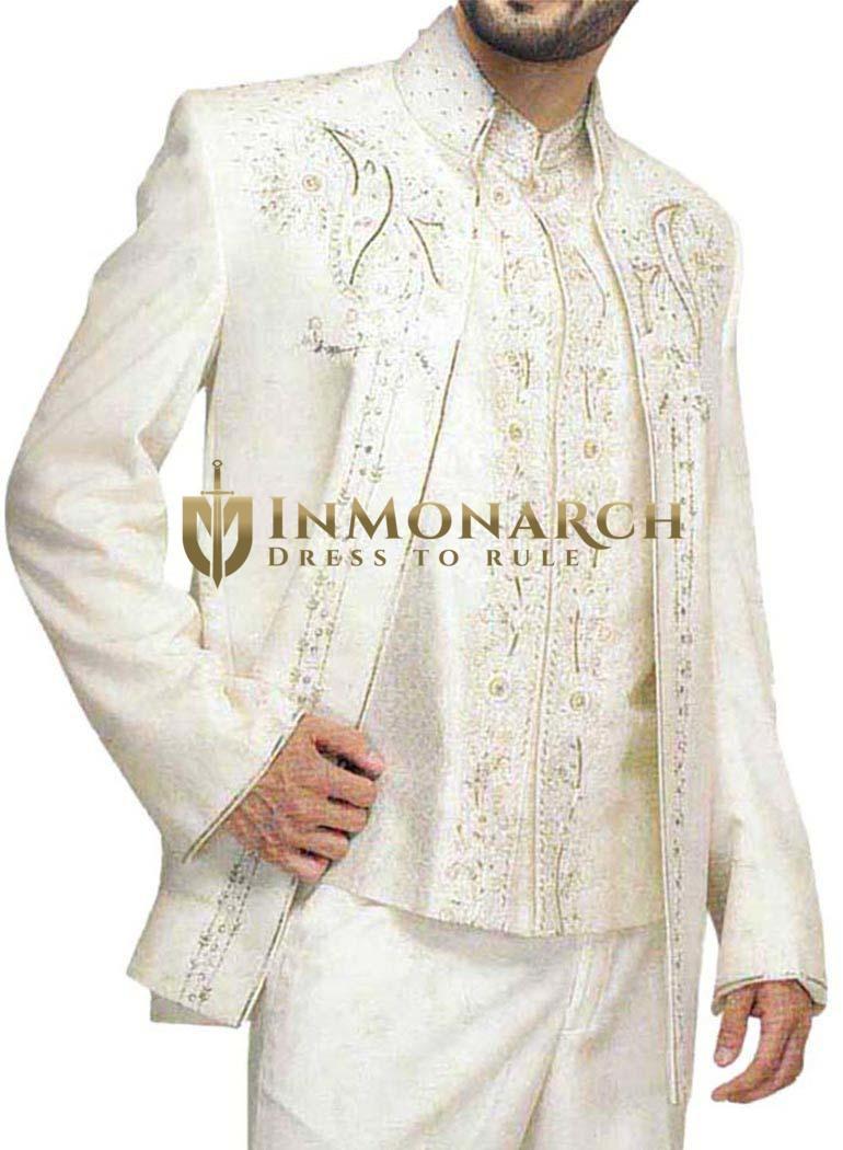 Fancy Work Cream Wedding 3 Pc Jodhpuri Suit