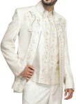 Mens Cream 3 Pc Jodhpuri Suit Hand Work