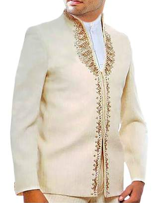 Designer Work Trendy Ivory 3 Pc Jodhpuri Suit