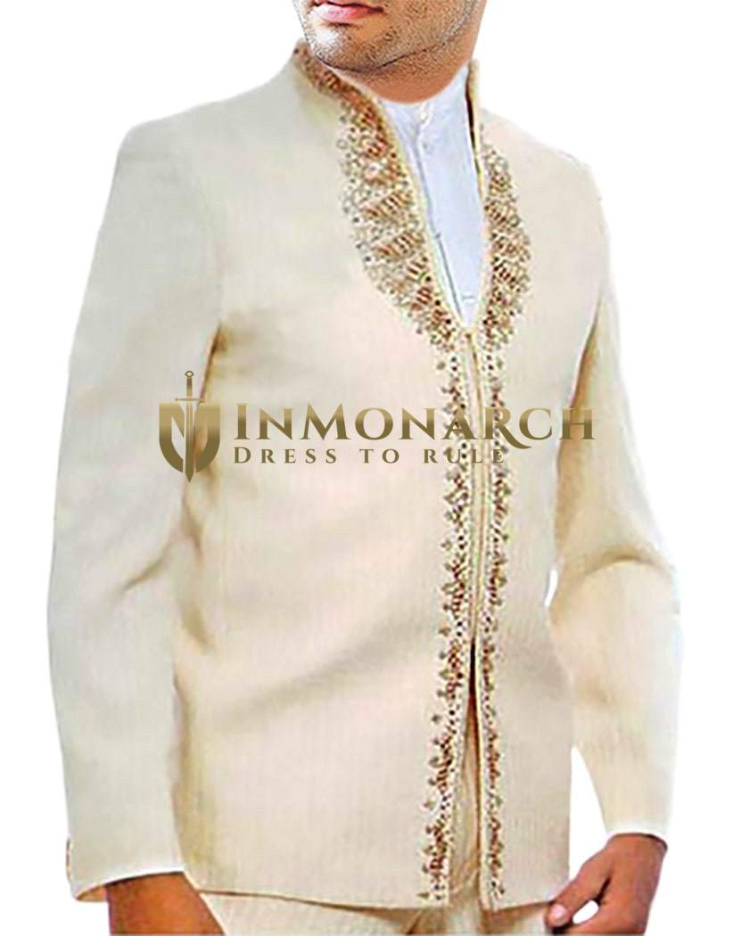 Mens Ivory 3 Pc Partywear Suit Embroidered Work