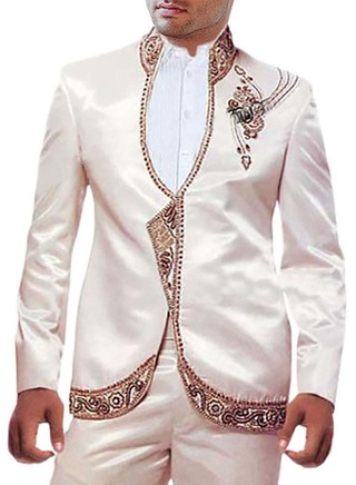 Mens Cream 3 Pc Partywear Suit Embroidered