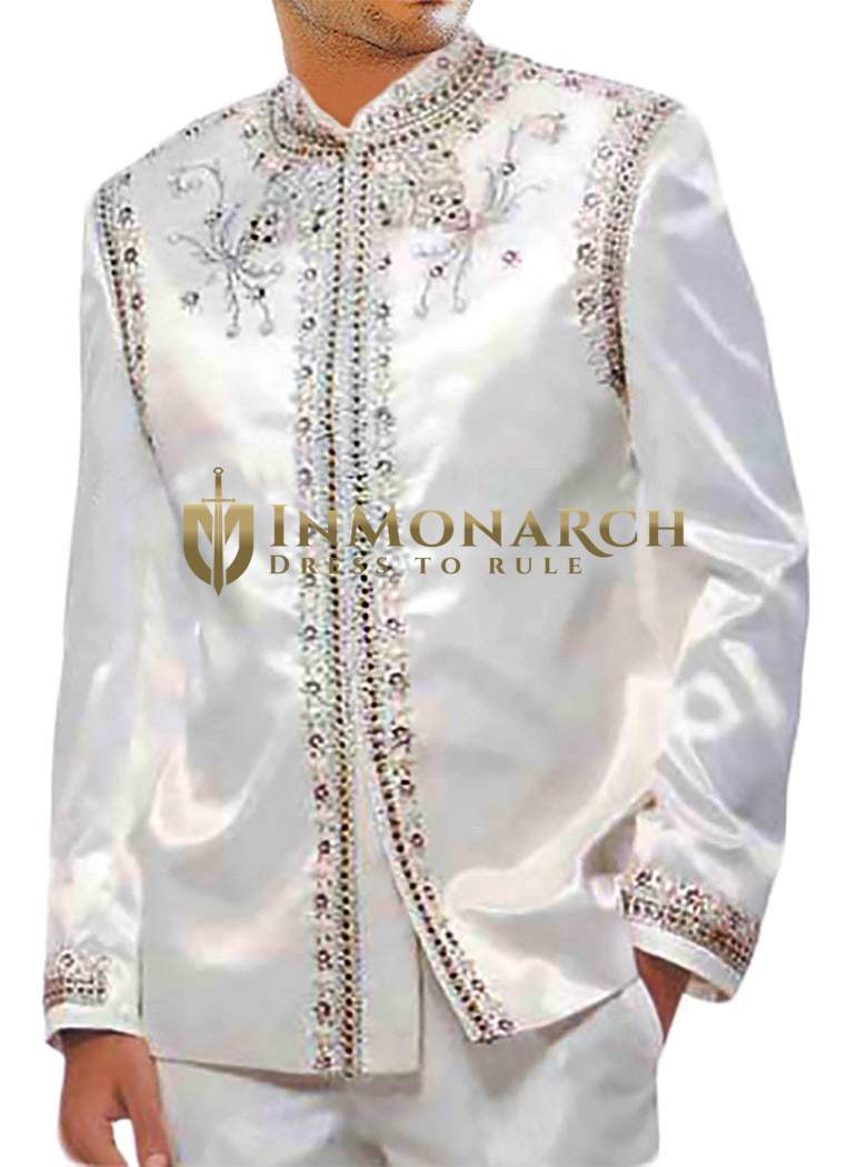 Mens White Polyester 2 Pc Jodhpuri Designer Suit