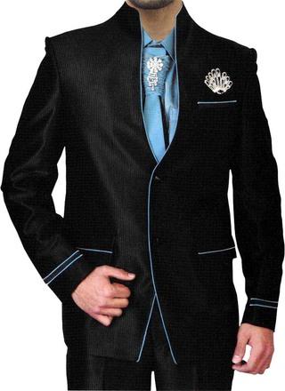 Fashionable High Neck Black 6 Pc Jodhpuri Suit