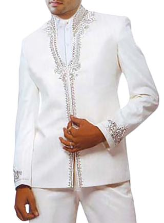 Mens White Linen 2 Pc Jodhpuri suit Partywear Style