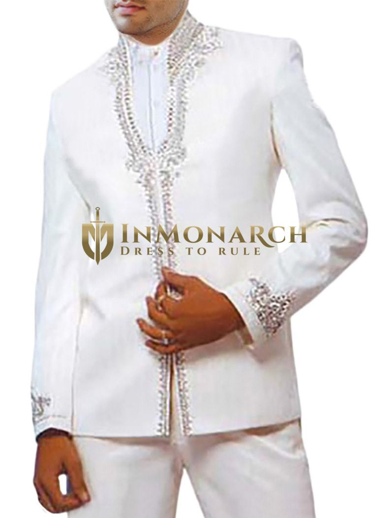 Marvelous Perfect Look White 2 Pc Jodhpuri suit