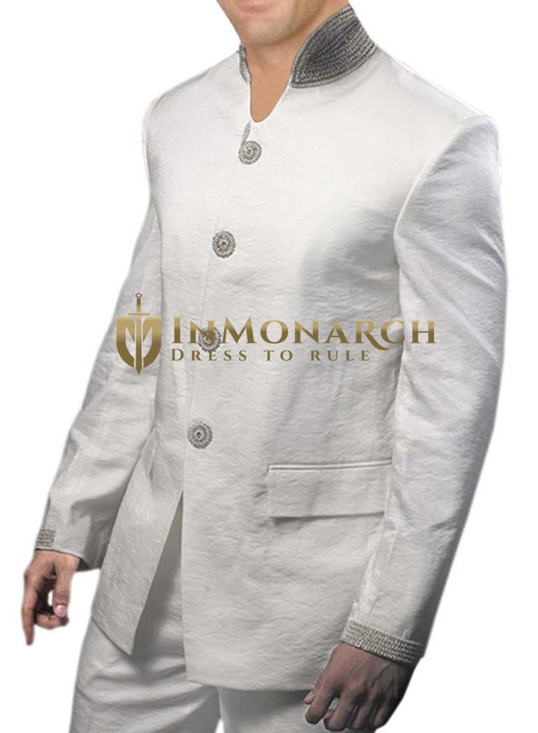 Mens White Linen 2 Pc Jodhpuri Suit Wedding Wear