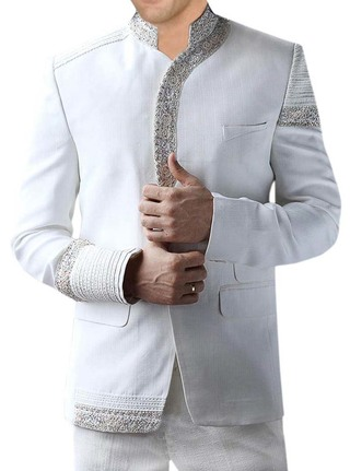 Mens White 2 Pc Jodhpuri Suit Wedding Embroidered
