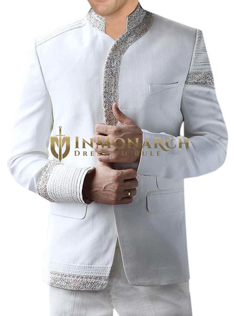 Outstanding Wedding White 2 Pc Jodhpuri Suit