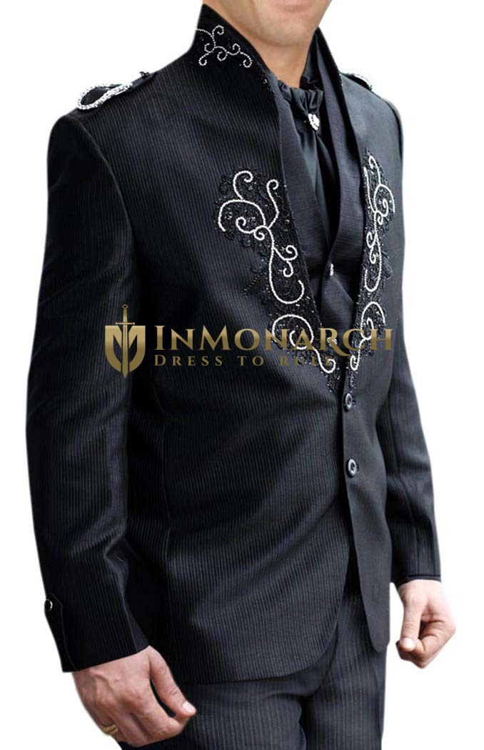 Mens Black Jodhpuri suit 5 Pc Designer Wedding