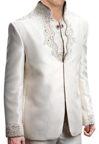Luxurious Designer Cream 3 Pc Jodhpuri Suit