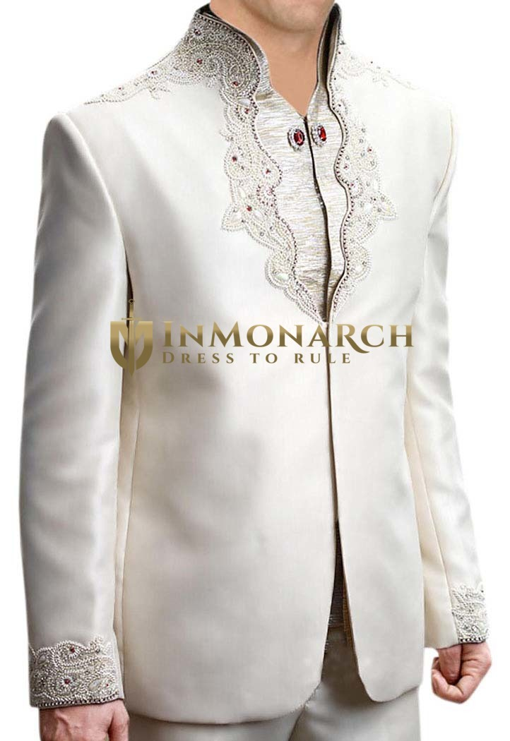 Luxurious Designer Cream 3 Pc Jodhpuri Suit