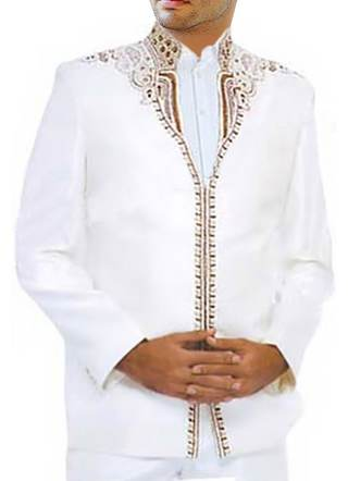 Mens White 3 Pc Designer Jodhpuri Suit for Festival