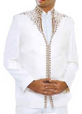 Mens White 3 Pc Designer Jodhpuri Suit for Festival