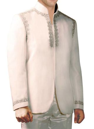 Mens Cream Pure Linen 2 Pc Jodhpuri Suit Designer