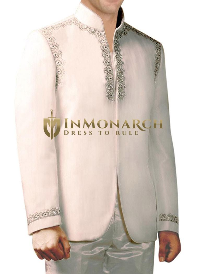 INMONARCH Mens White 2 Pc Indo Western Angrakha Style Embroided Work IN236