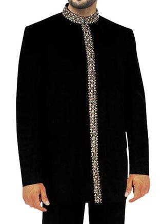 Mens Black 2 Pc Jodhpuri Suit Reception