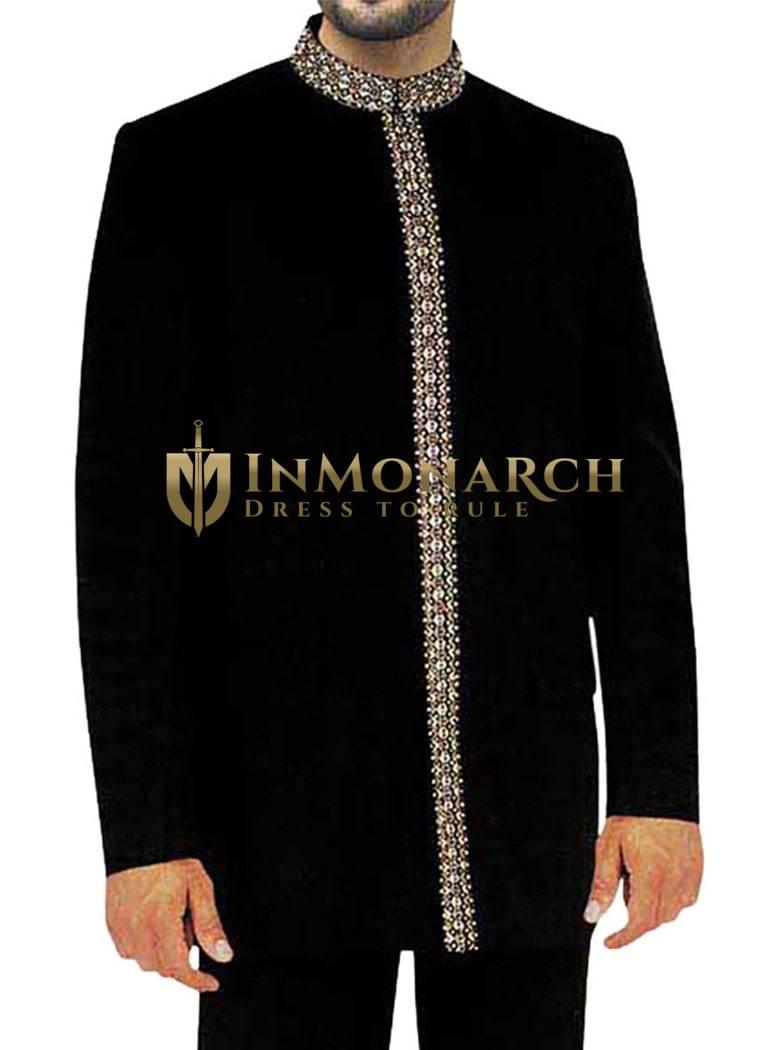 Reception Black 2 Pc Jodhpuri Suit