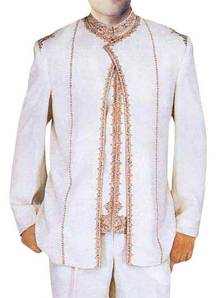 Mens White 3 Pc Jodhpuri suit Elegant Style