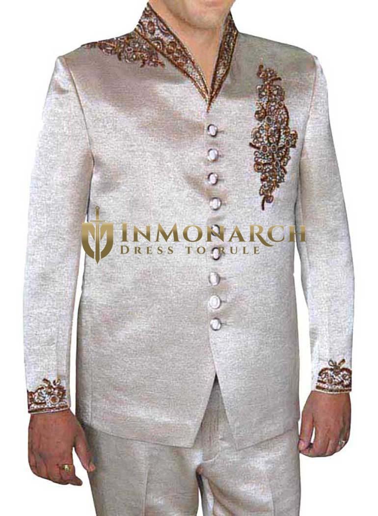 Mens Almond Polyester 2 Pc Jodhpuri Suit