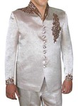 Mens Almond Polyester 2 Pc Jodhpuri Suit