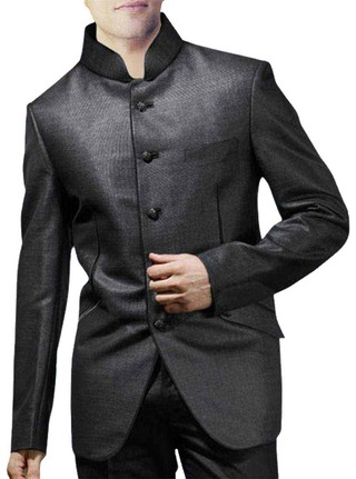 Mens Dark Gray Polyester 2 Pc Wedding Suit