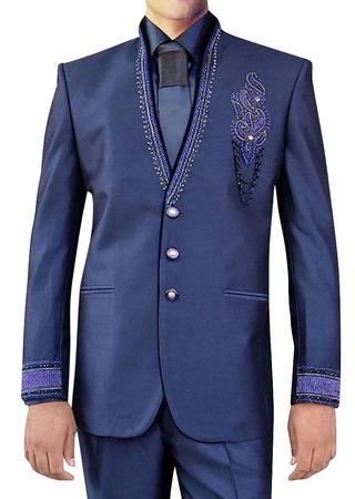 Mens Dark Navy 4 Pc Jodhpuri Suit Embroidered