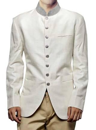 Mens Linen Cream 2 Pc Jodhpuri Coat