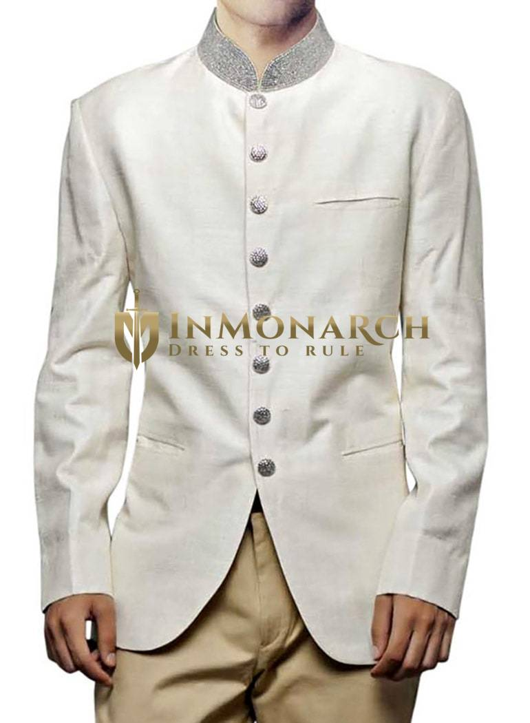Mens Linen Cream 2 Pc Jodhpuri Coat