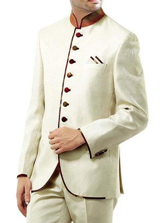 Mens Ivory 3 Pc Jodhpuri Suit Trimming Work