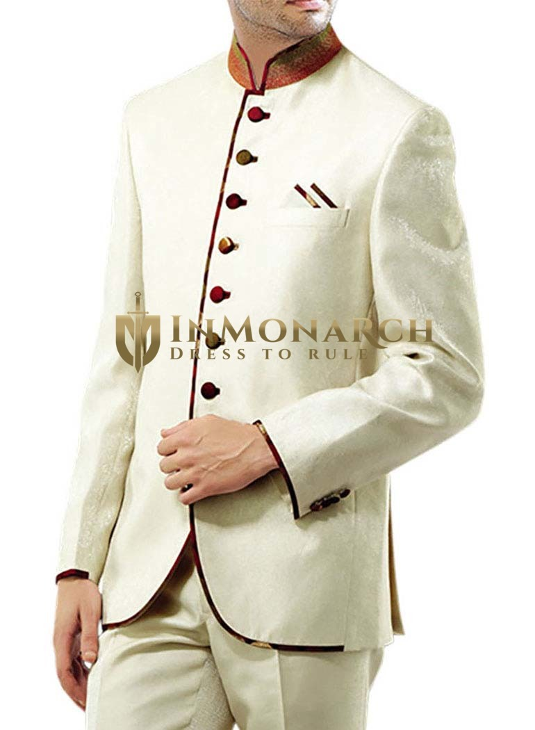 Mens Ivory 3 Pc Jodhpuri Suit Trimming Work
