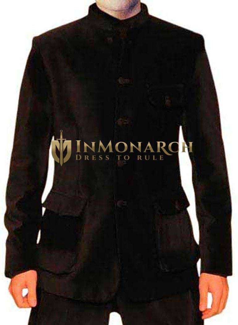 Attractive Black Velvet 2 Pc Jodhpuri Suit