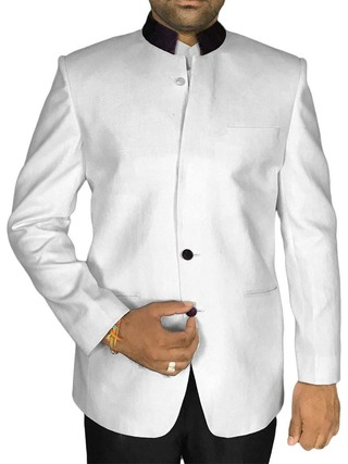 Mens White Pure Linen 2 Pc Jodhpuri Suit