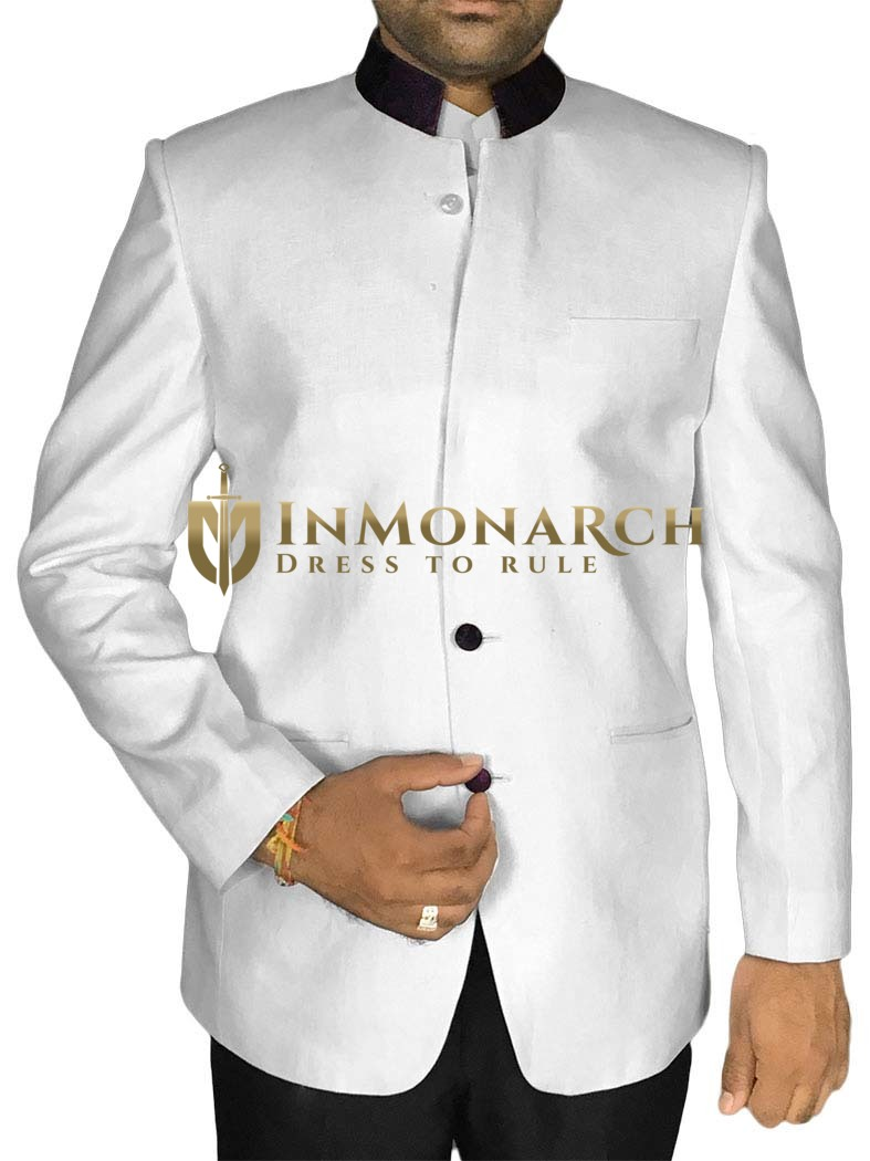 Debonair Look White 2 Pc Jodhpuri Suit