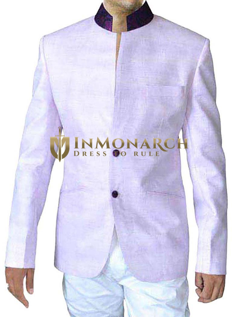 Mens Lavender Linen 2 Pc Jodhpuri Suit