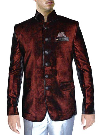 Velvet Burgundy 3 Pc Jodhpuri Coat