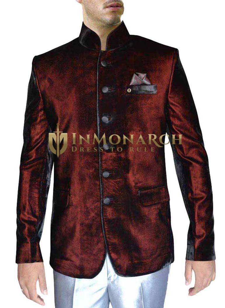 Velvet Burgundy 3 Pc Jodhpuri Coat