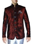 Mens Velvet Burgundy 3 Pc Jodhpuri Coat