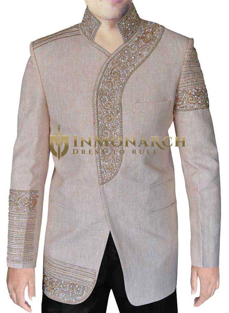 Mens Natural Linen 2 Pc Jodhpuri Suit Designer