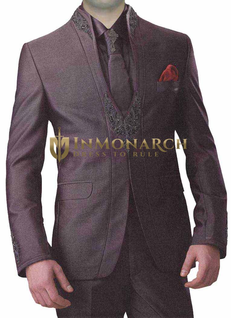 Mens Wine Polyester 6 Pc Jodhpuri Suit