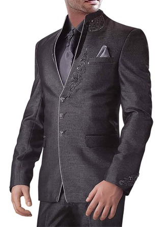Majestic Purple gray 6 Pc Jodhpuri Suit
