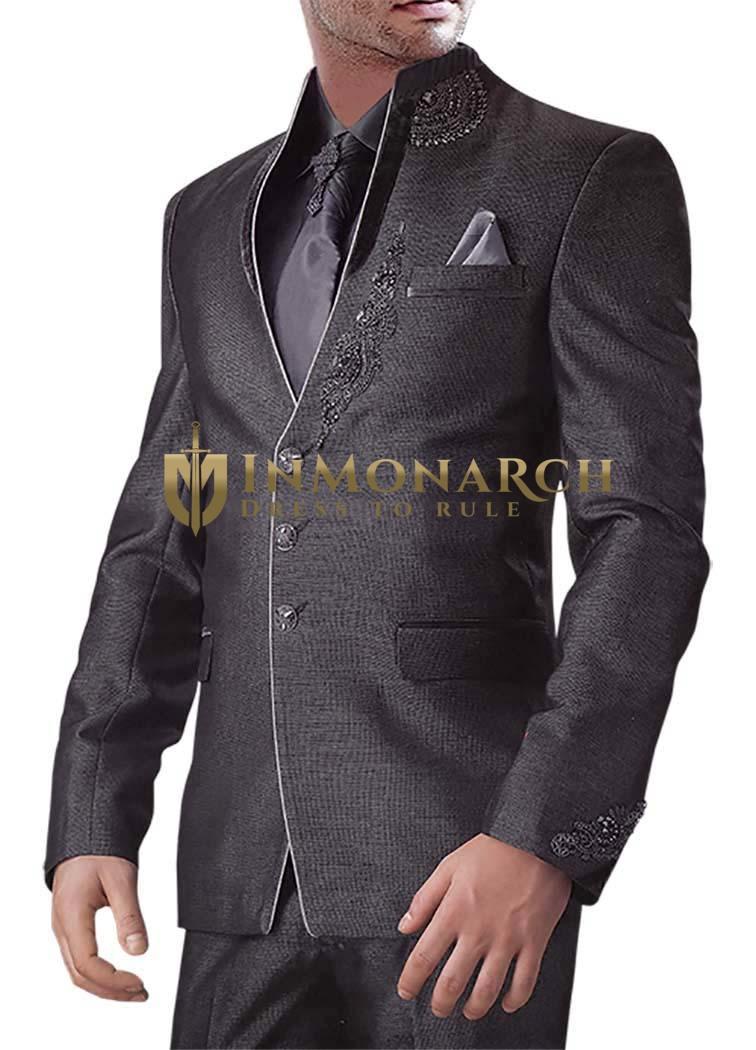 Mens Purple gray 6 Pc Jodhpuri Suit 3 Button
