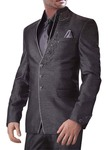 Mens Purple gray 6 Pc Jodhpuri Suit 3 Button