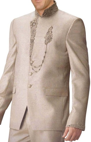 Mens Ivory 2 Pc Jodhpuri Suit Hand Embroidered